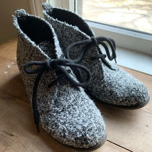 Marled Wool Black and White Chukka Ankle Booties